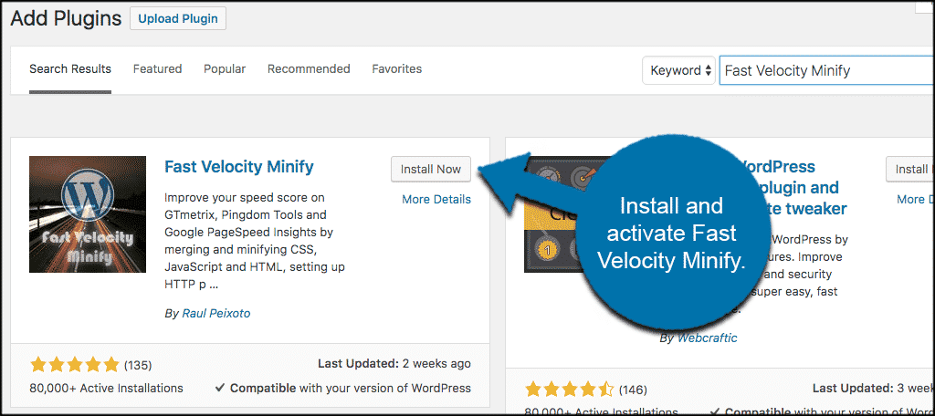 Install and activate minify javascript and css plugin