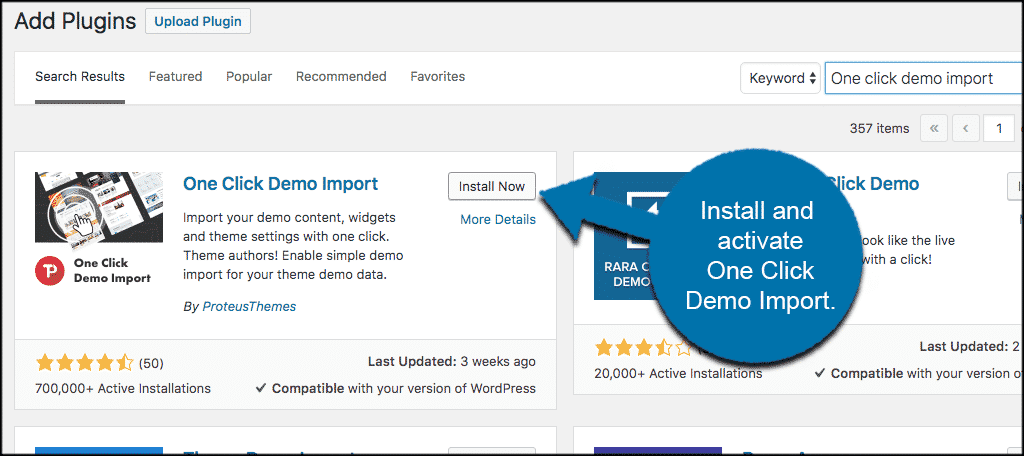 Install and activate wordpress demo content plugin