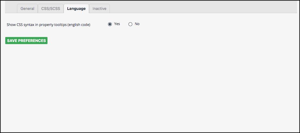 Language tab for the plugin