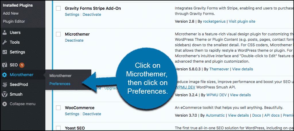 Click microthemer then click preferences