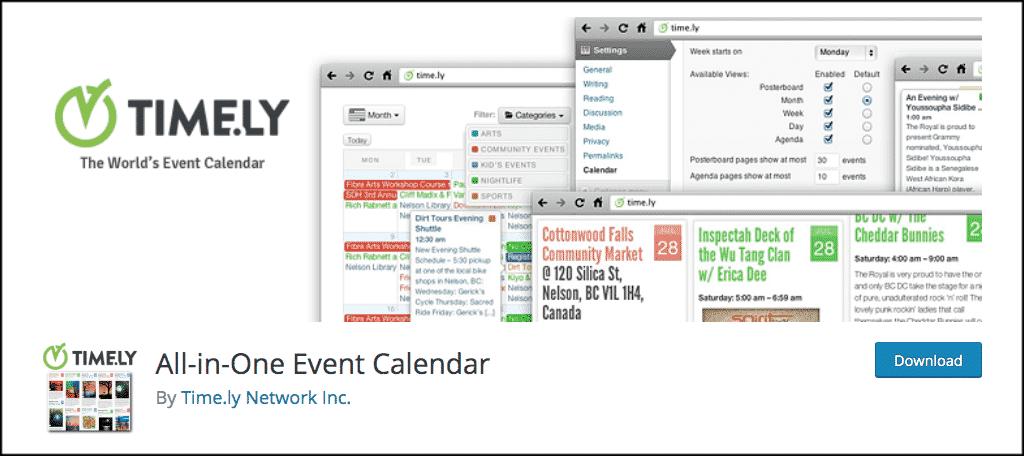All in one wordpress events calendar
