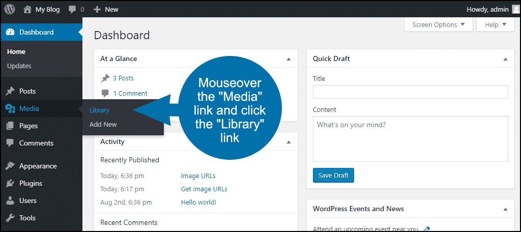 """click the """"Library"""" link"""