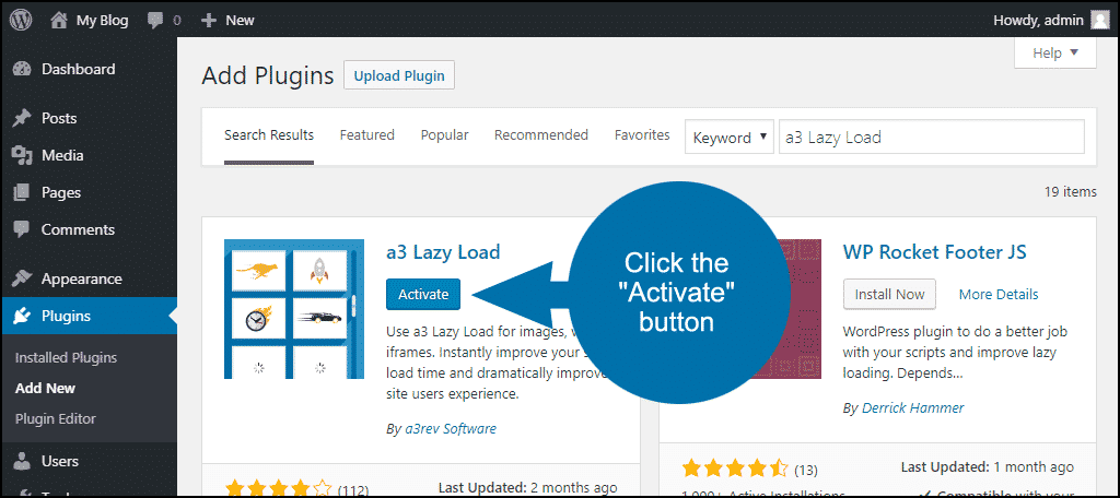 activate the WordPress a3 Lazy Load plugin