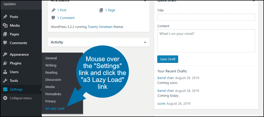 "mouse over the ""Settings"" link and click the ""a3 Lazy Load"" link"