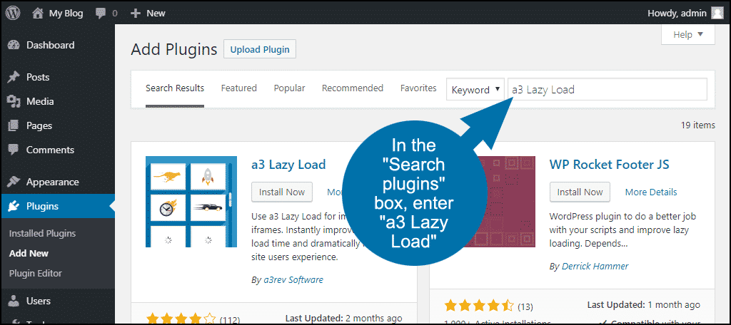 search for the WordPress a3 Lazy Load plugin