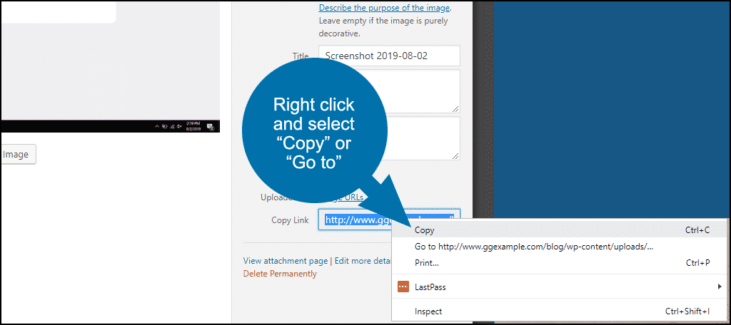 """right click and select """"copy"""" or """"go to"""""""