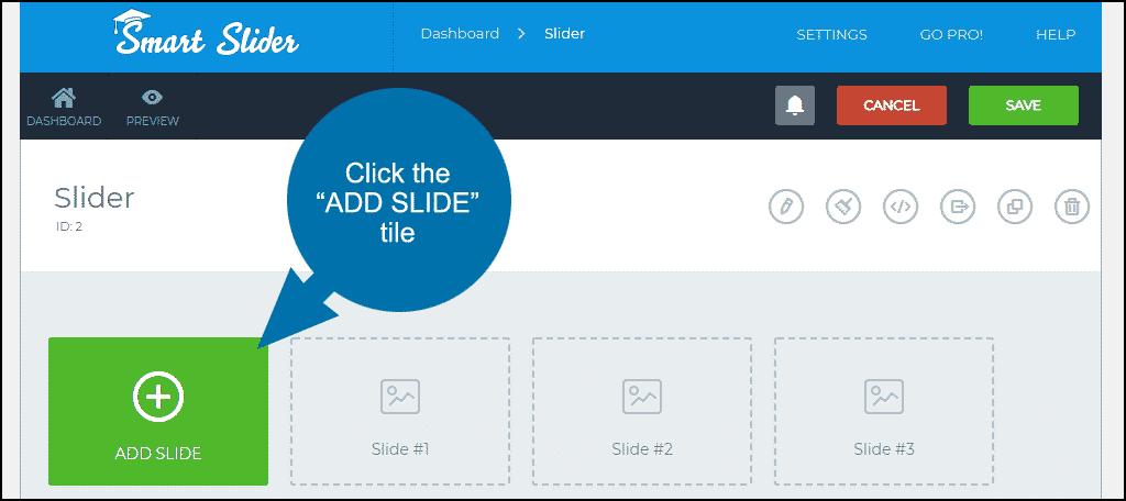 """click the """"ADD SLIDE"""" tile"""