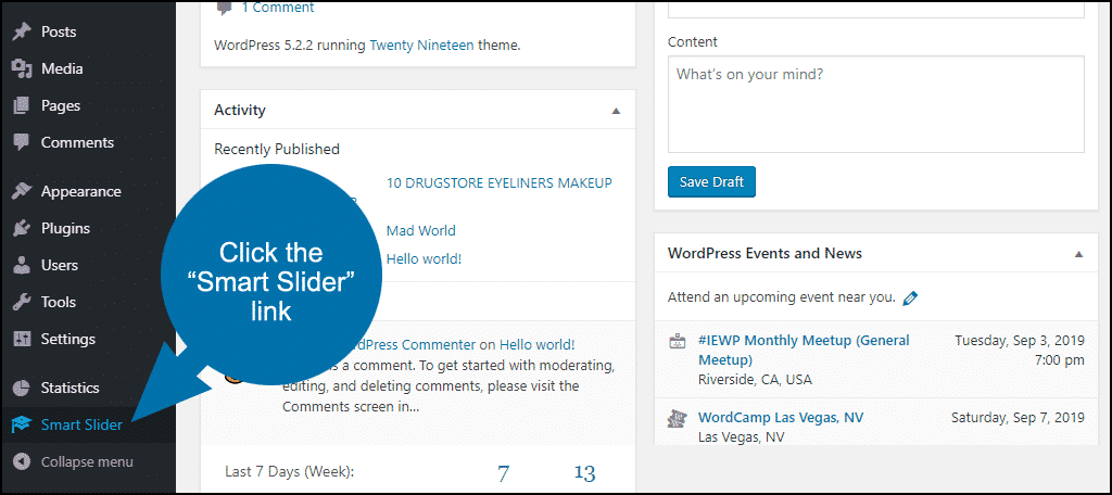 """click the """"Smart Slider"""" link"""