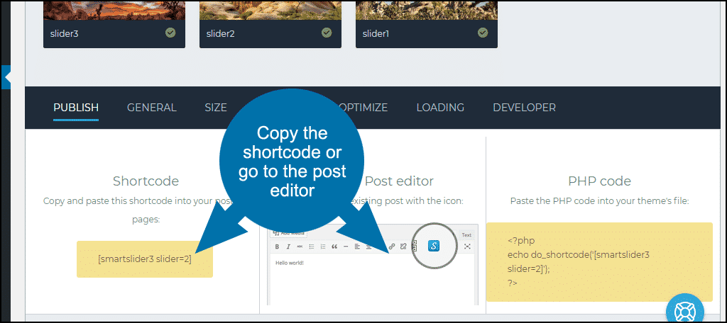 copy the shortcode or go to the post editor