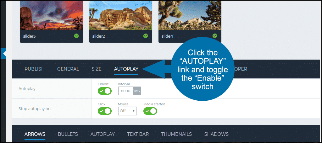 "toggle the ""Enable"" switch"