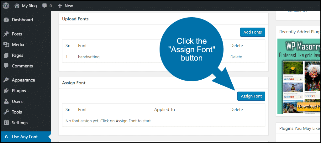 "click the ""Assign Font"" button"