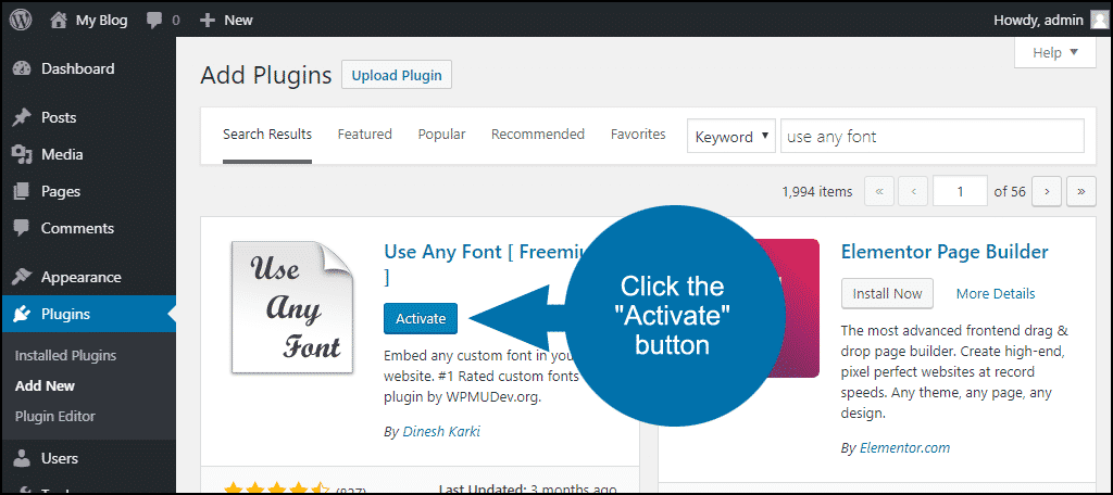 click to activate the WordPress Use Any Font plugin