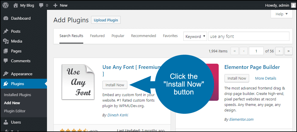 click to install the WordPress Use Any Font plugin