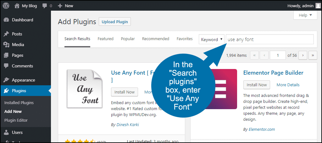 search for the WordPress Use Any Font plugin