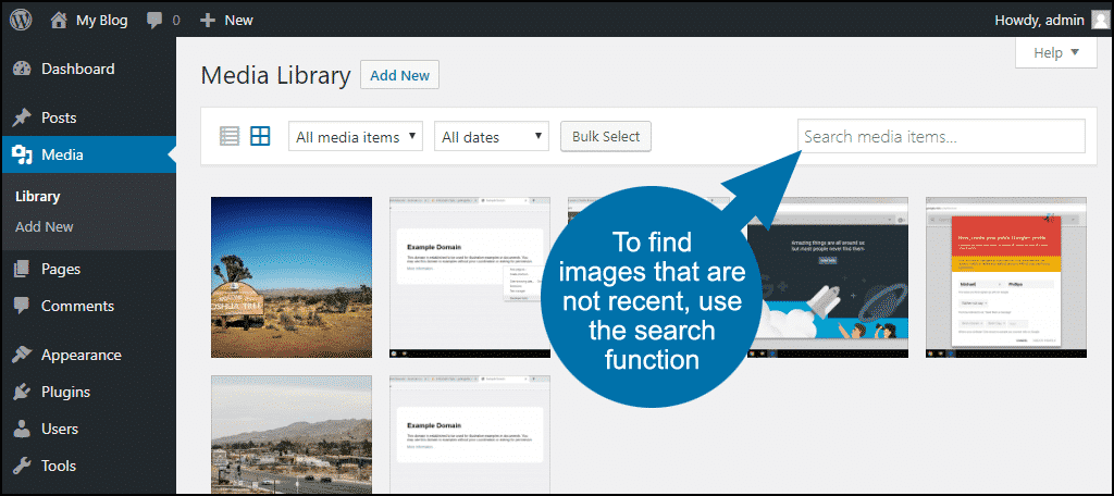 to find images that are not recent, use the search function