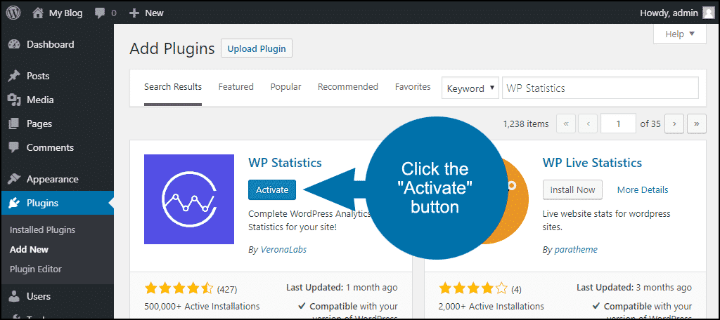 click to activate the WordPress WP Statistics plugin