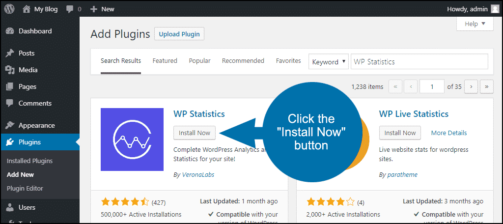 click to install the WordPress WP Statistics plugin