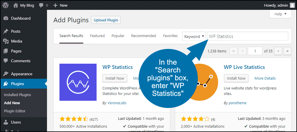 search for the WordPress WP Statistics plugin