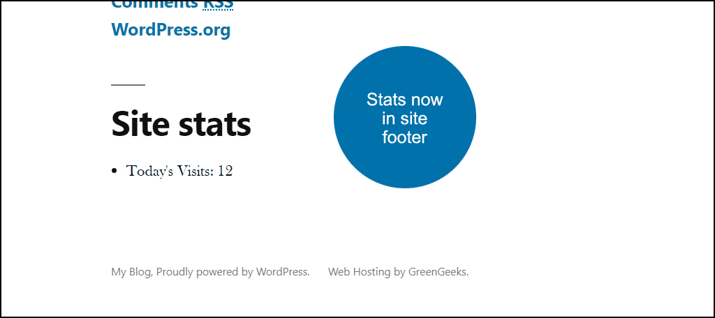 stats you selected are displayed in the site footer