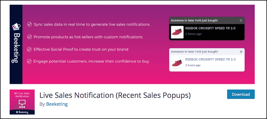 Beeketing live sales popup