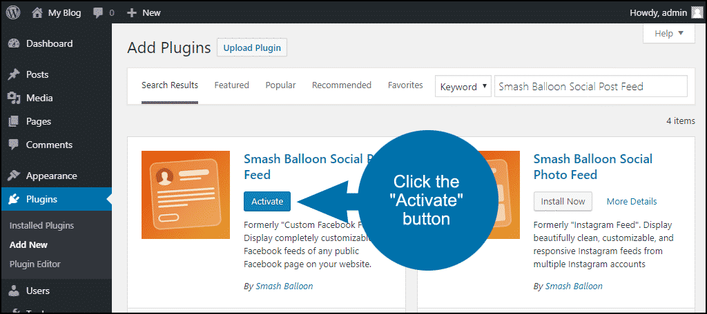 click to activate the WordPress Smash Balloon Social Post Feed plugin