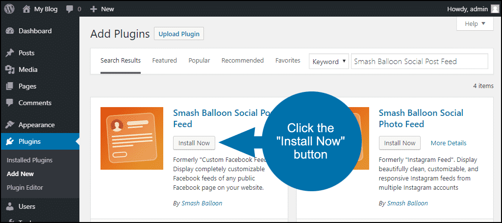 click to install the WordPress Smash Balloon Social Post Feed plugin