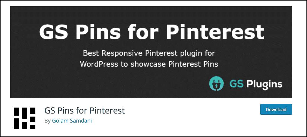 GS pins for pinterest plugin