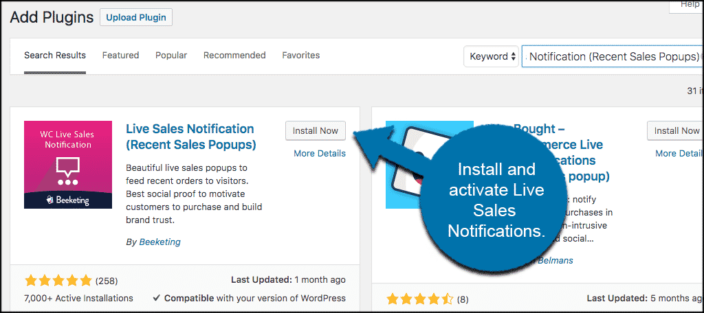 Install and activate live sales popup plugin