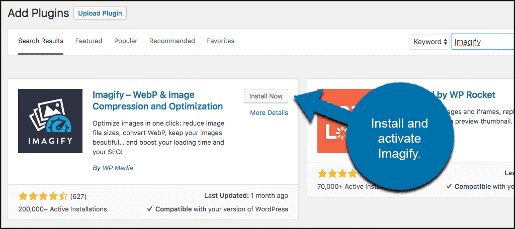 Install and activate webp images wordpress plugin