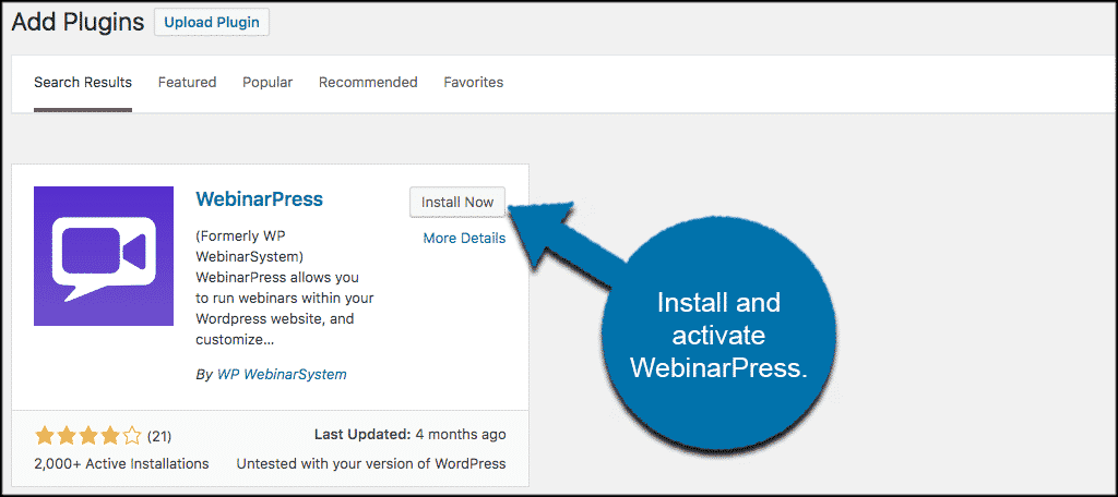 Install and activate webinars in wordpress plugin