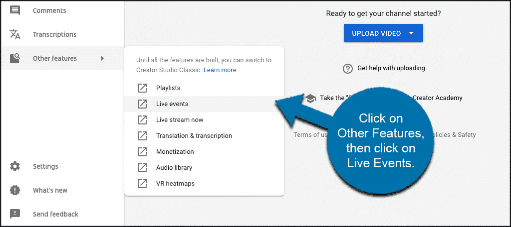 Clcick other features then live events