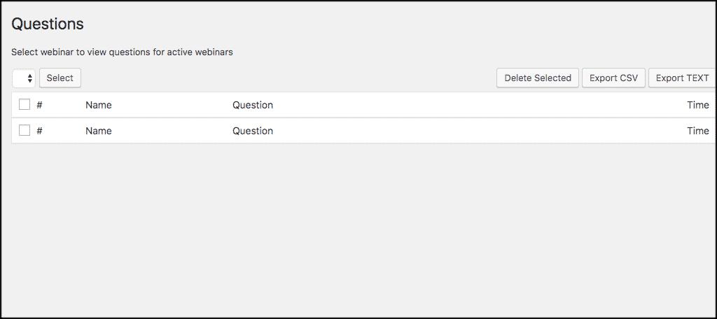 Webinar questions