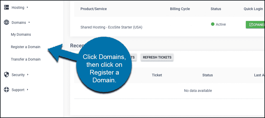 Buy a domain name in greengeeks account