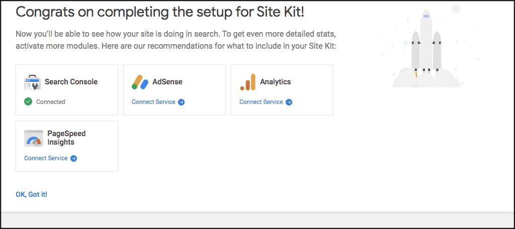 Google site kit dashboard