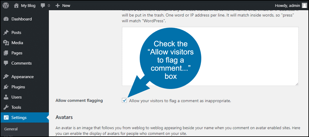 "check the ""Allow your visitors to flag a comment as inappropriate"" box"