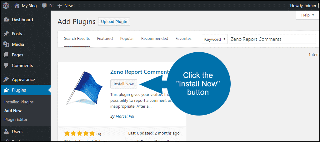 click to install the WordPress Zeno Report Comments plugin