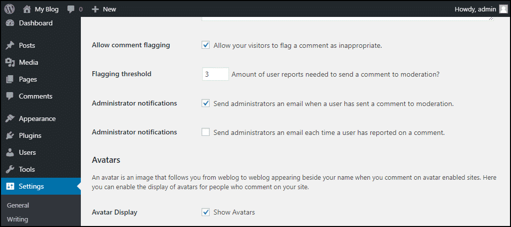 comment flagging options