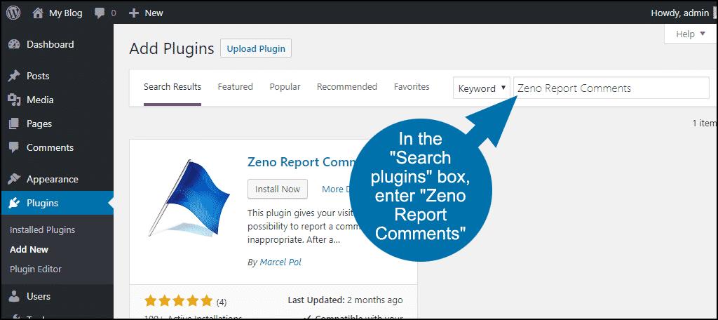 search for the WordPress Zeno Report Comments plugin