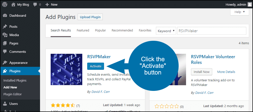 click to activate the WordPress RSVPMaker plugin
