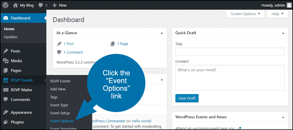 "click the ""Event Options"" link"