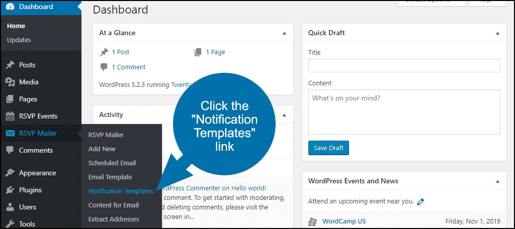 "click the ""Notification Templates"" link"