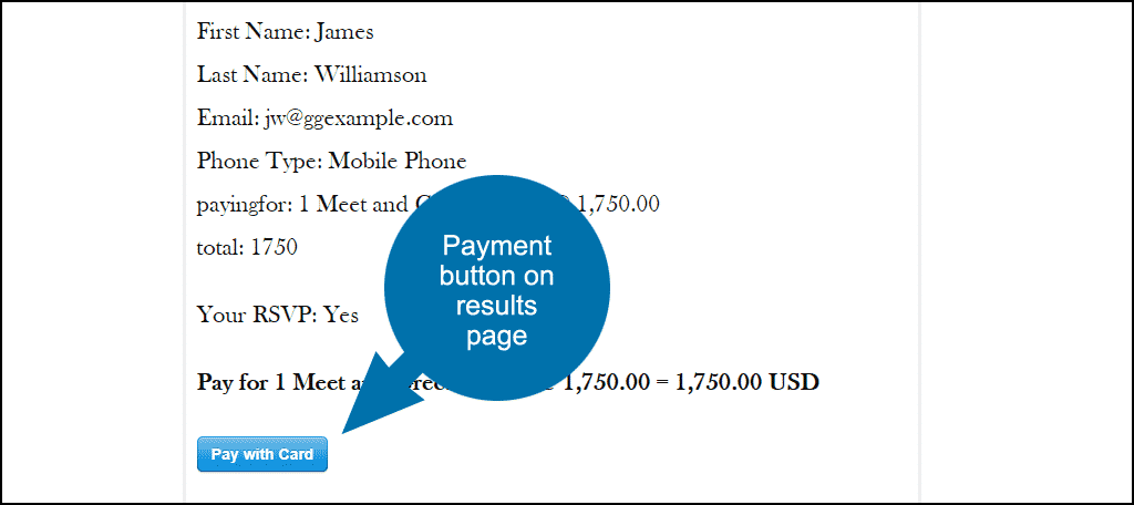 pay on the results page