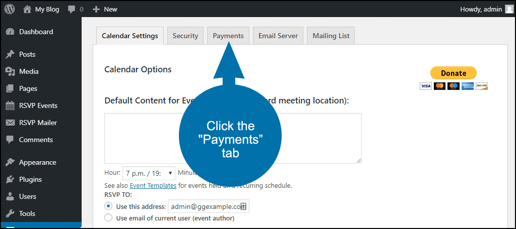 "Click the ""Payments"" tab"