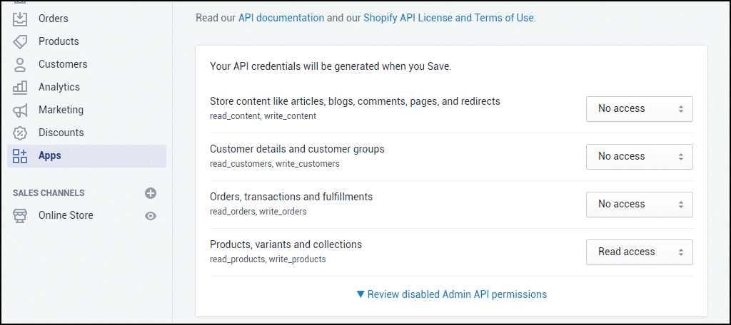 "set the ""Admin API"" permissions"