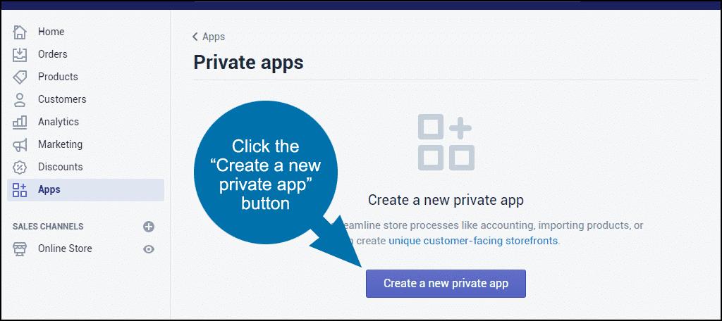 "click the ""Create a new private app"" button"