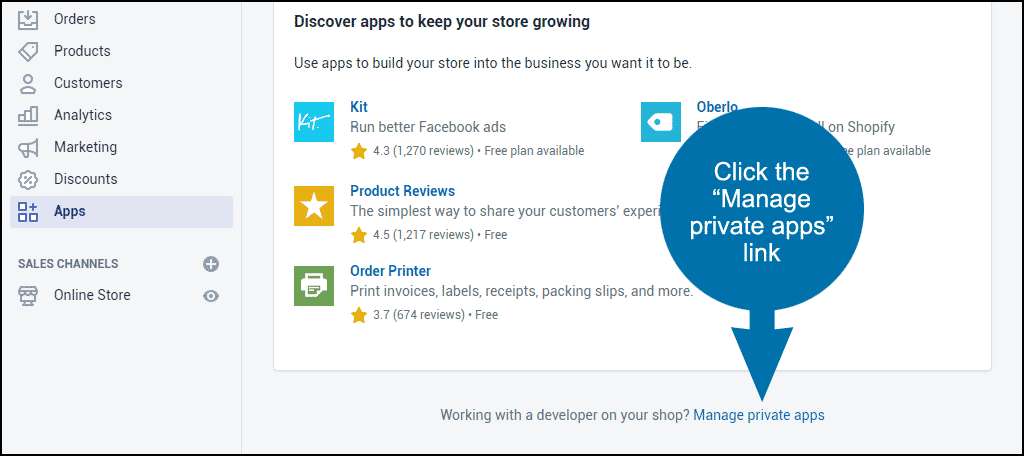 "click the ""Manage private apps"" link"