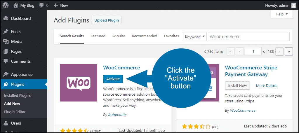 click to activate the WordPress WooCommerce plugin
