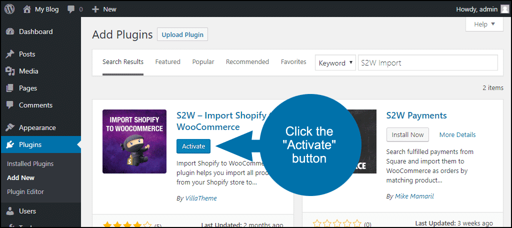 click to activate the WordPress S2W Import plugin