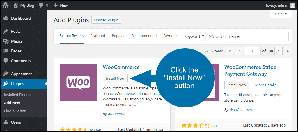 click to install the WordPress WooCommerce plugin