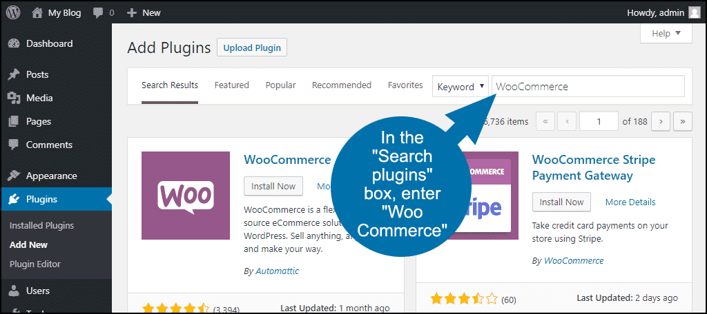 search for the WordPress WooCommerce plugin